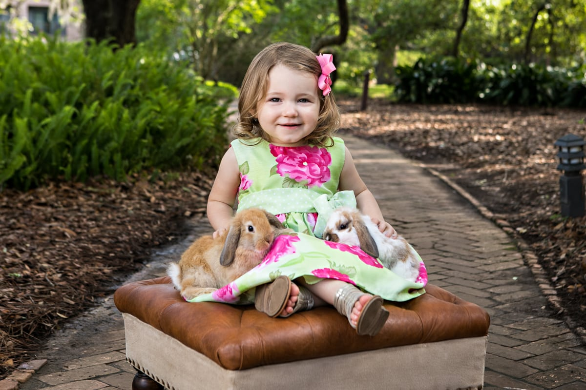 easter bunny portrait with a little girl